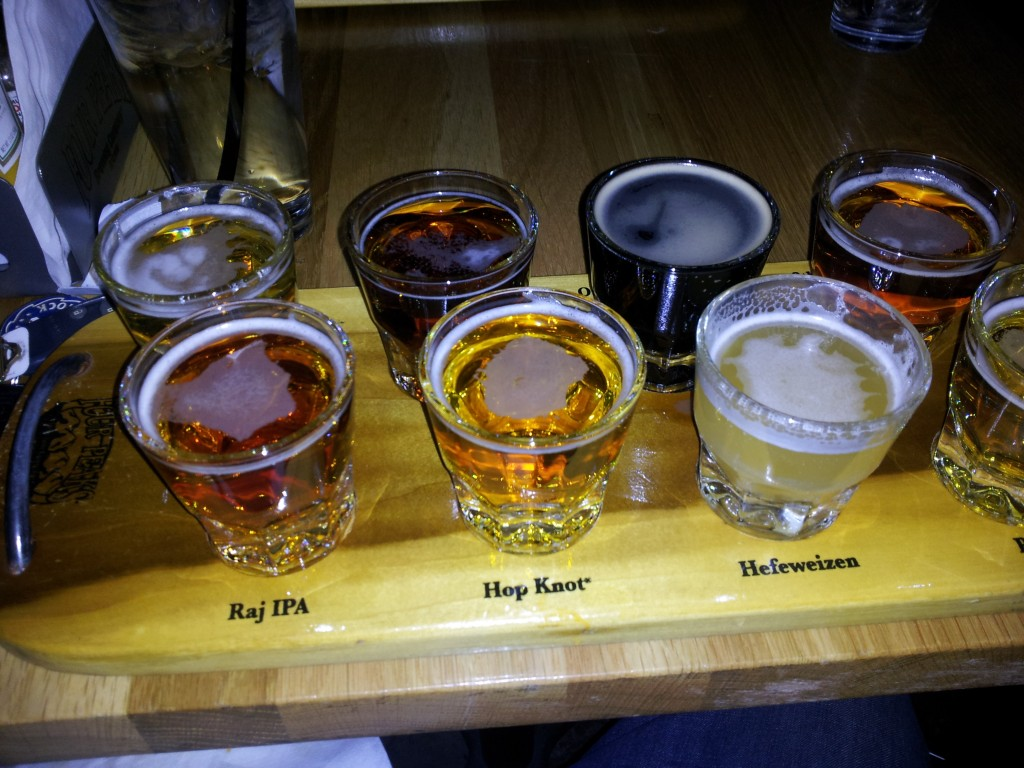 Four Peaks beer flight