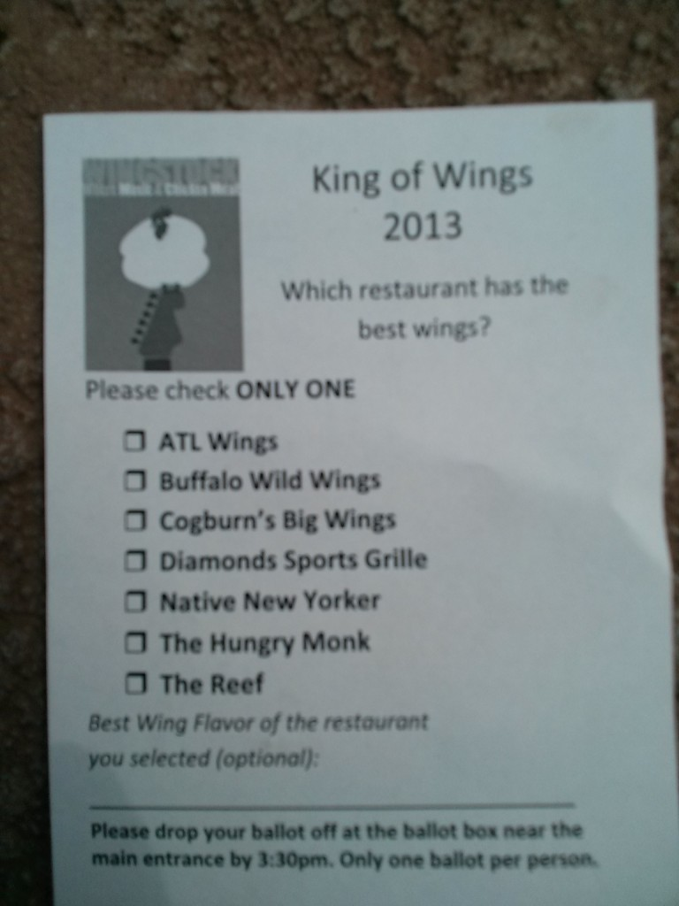 Wingstock King of Wings Ballot