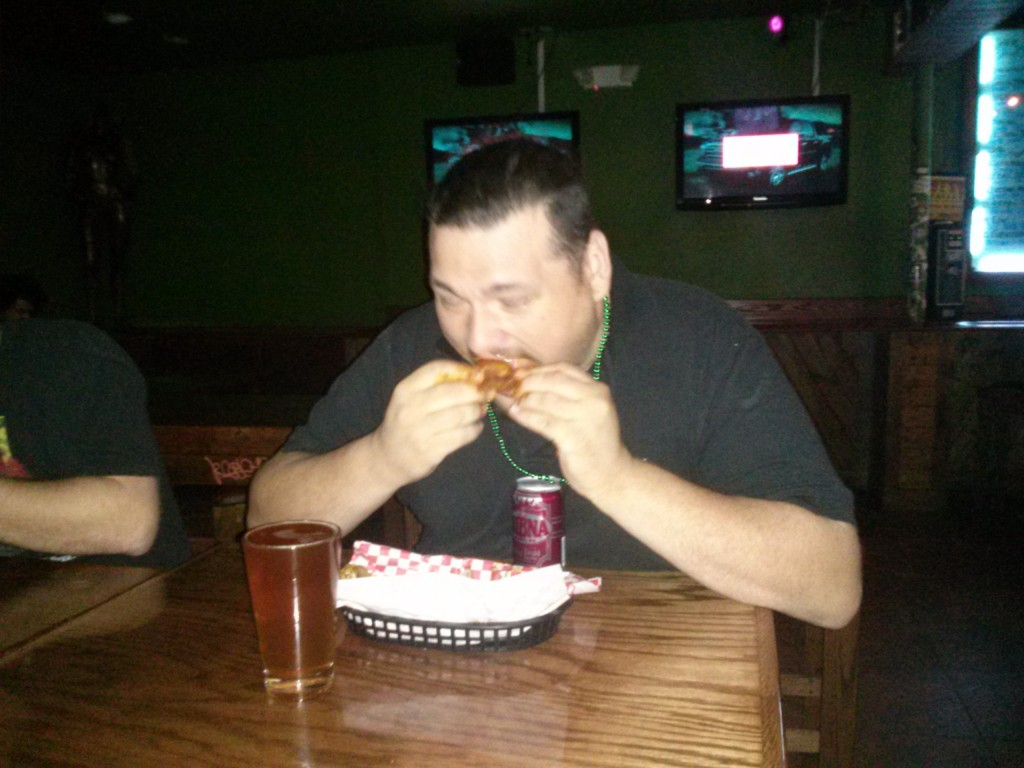 Brad eating wings
