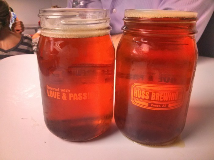 Huss Brewing Company beer in mason jars